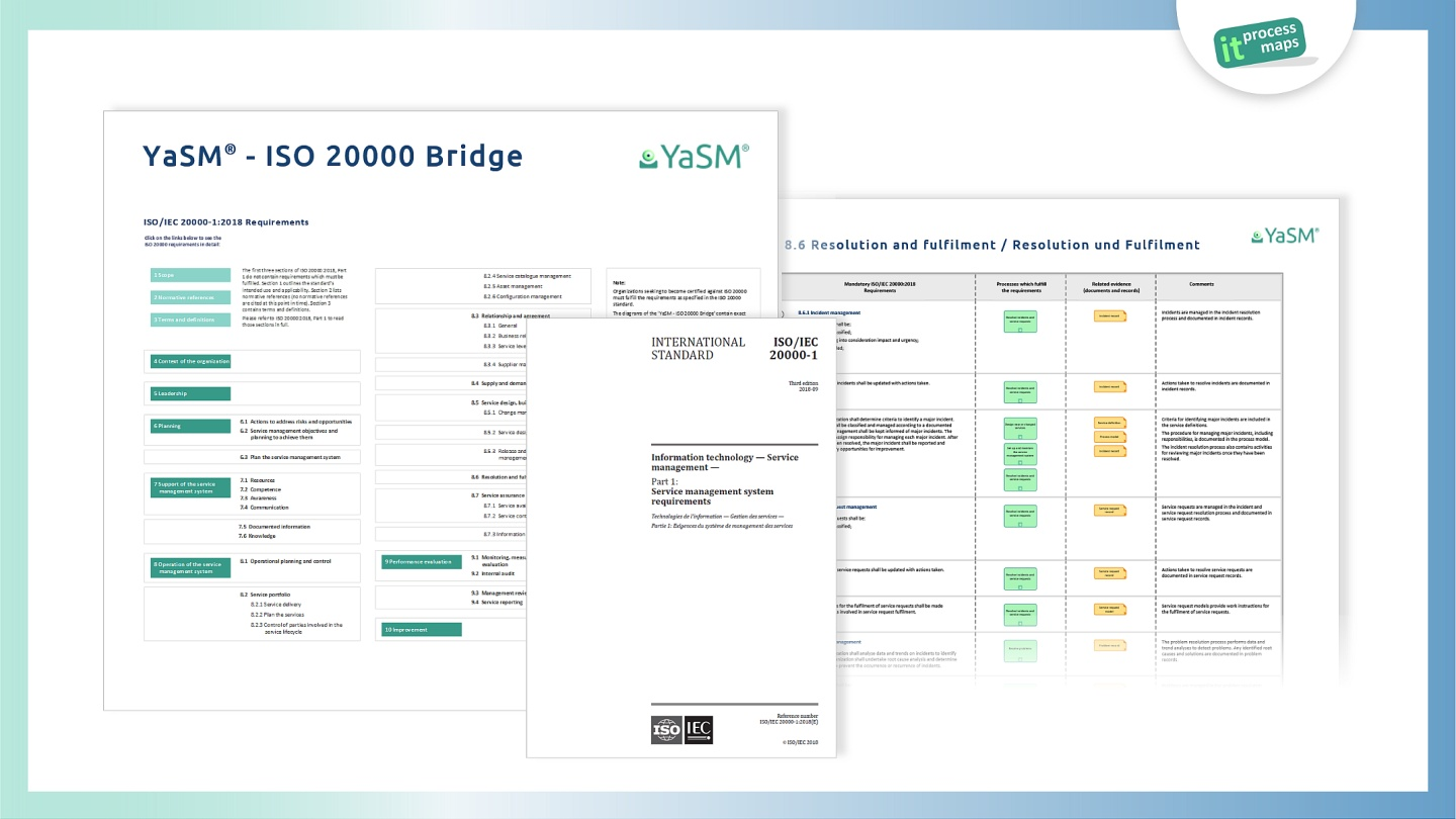 YaSM - ISO 20000 Bridge. Detailed YaSM process models and document templates for every ISO 20000 requirement.
