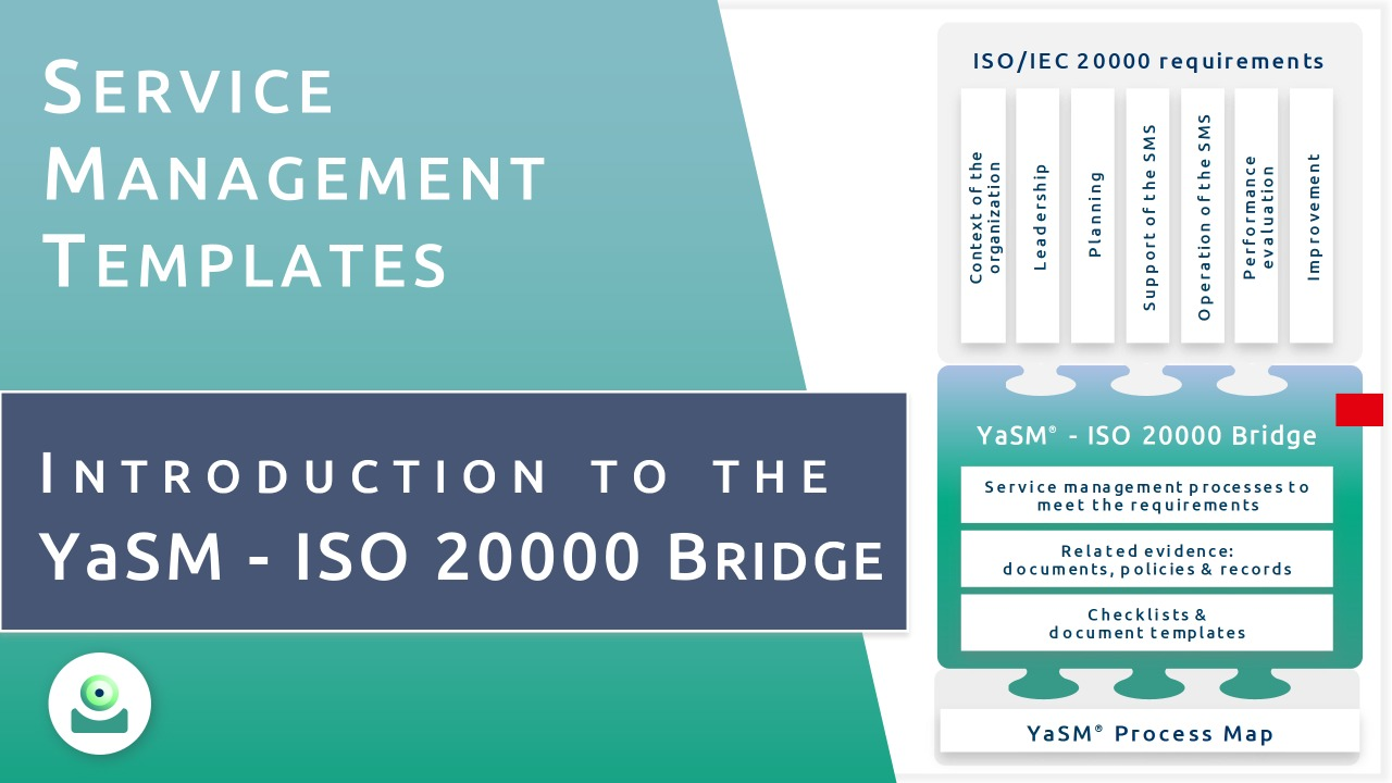 Video: YaSM and ISO 20000. - The YaSM process model is perfectly aligned with ISO 20000 (ISO/IEC 20000:2018). The process diagrams and document templates contained in the YaSM model make the task of designing ISO 20000 compliant processes for your organization manageable.