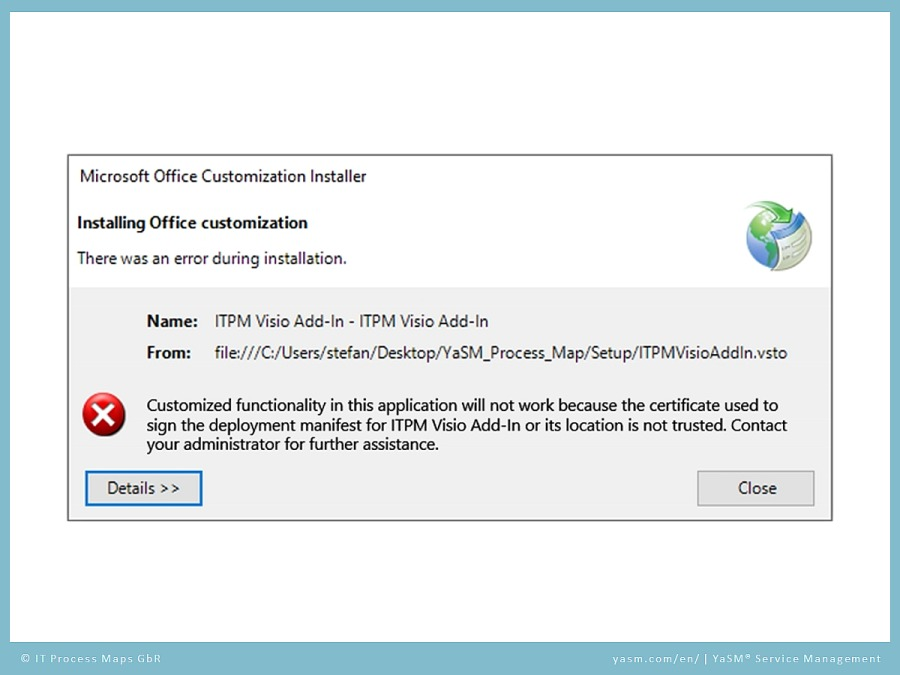 YaSM support video 'Security and certificate': Error message during installation