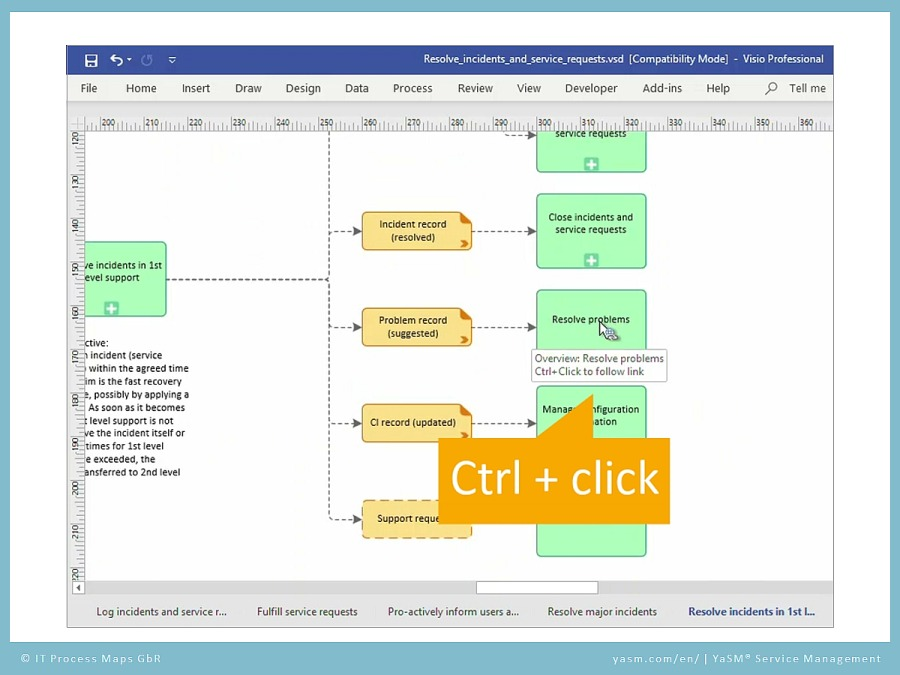 YaSM support video 'Links in Visio': Open the linked diagram in Visio with the 'Control' button and click on the link.