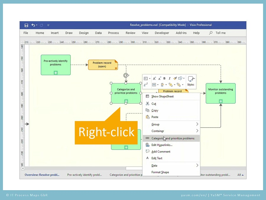 YaSM support video 'Links in Visio': Open the diagram in Visio via right-click and context menu.