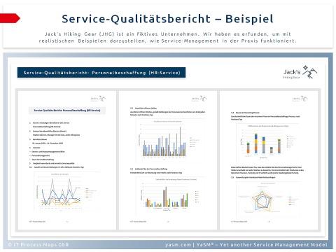 Service-Qualitätsbericht (Beispiel): Der Bericht zeigt, ob die tatsächlich erreichten Service-Levels mit den vereinbarten Zielwerten übereinstimmen.
