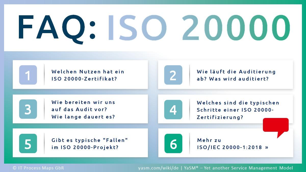 ISO 20000 FAQ: Fragen und Antworten zur Norm ISO 20000 (ISO/IEC 20000), dem internationen Service-Management-Norm. Nutzen des Standards, Informationen zum ISO20000-Audit, Tipps für ISO20000-Projekte.