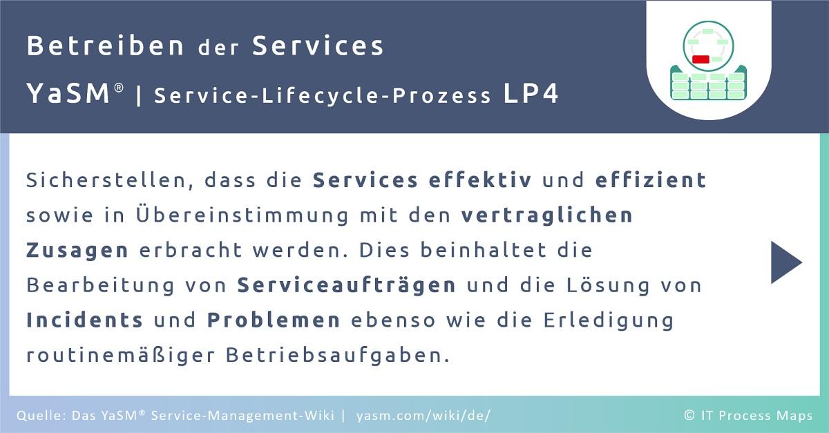 Der Service-Operation-Prozess in YaSM stellt sicher, dass die Services effektiv und effizient sowie in Übereinstimmung mit den vertraglichen Zusagen erbracht werden. Dies beinhaltet die Bearbeitung von Serviceaufträgen und die Lösung von Incidents und Problemen ebenso wie die Erledigung routinemäßiger Betriebsaufgaben.