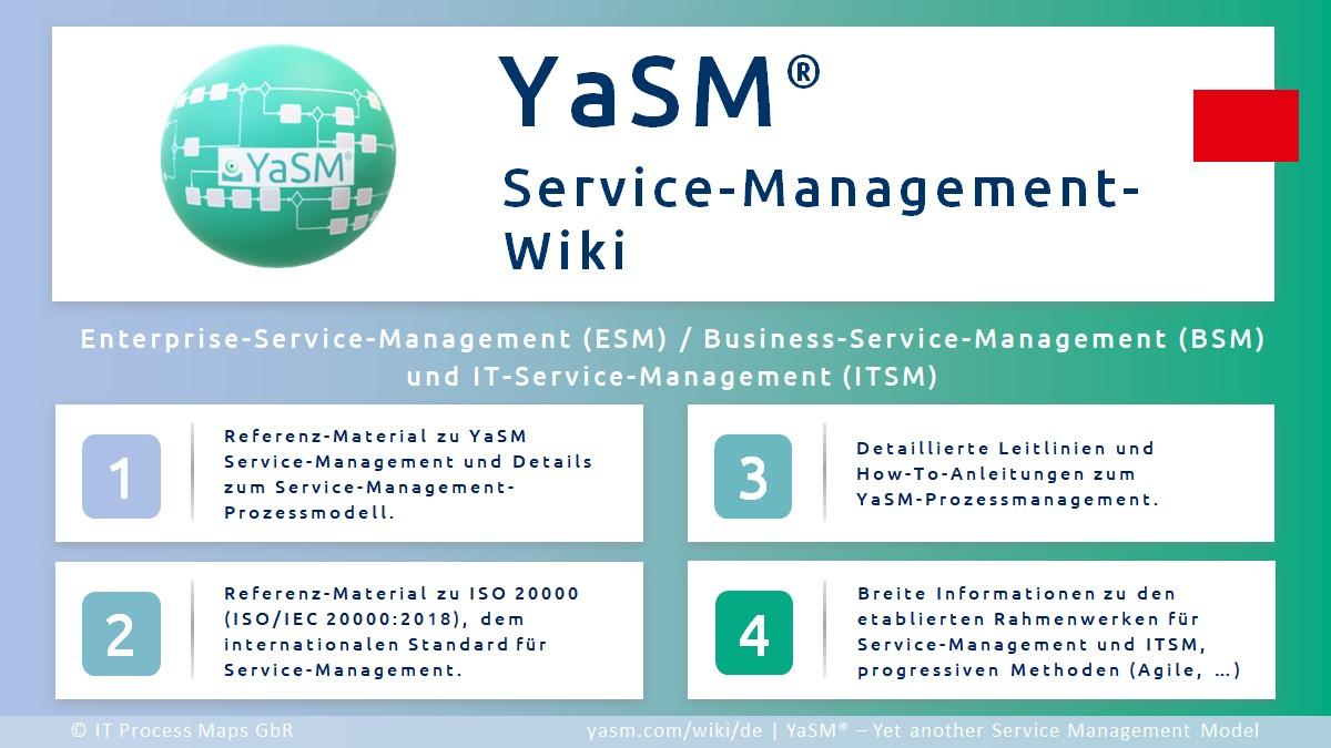 YaSM-Wiki: Wiki zu YaSM, Service-Management (BSM, ESM, ITSM) und ISO 20000  (ISO/IEC 20000). Referenz-Material zum YaSM Service-Management-Prozessmodell.