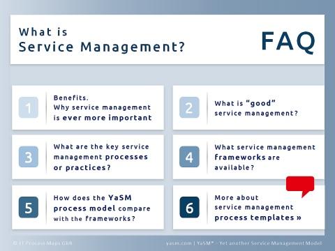 FAQs on service management: Goals / benefits, best practices, key processes / practices, frameworks, and the service management process model.