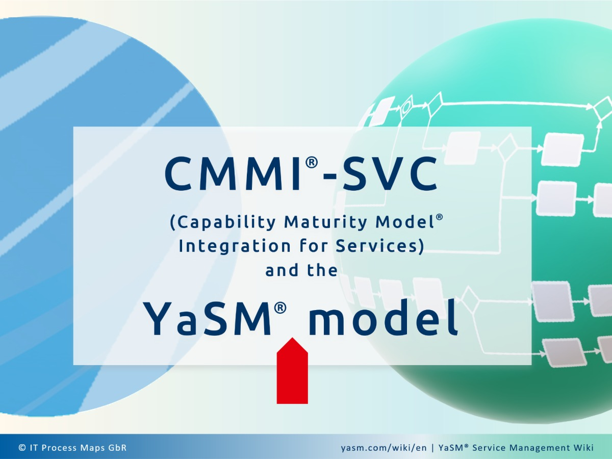 Comparison: CMMI for Services (CMMI-SVC, Capability Maturity Model Integration for Services) and the YaSM service management model. Ready-to-use process templates and process diagrams for CMMI-SVC projects.