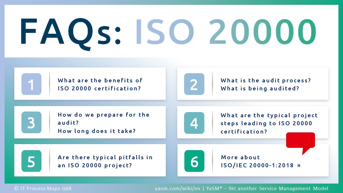ISO 20000 FAQs: Frequently Asked Questions (FAQ) on ISO 20000 (ISO/IEC 20000), the international service management standard. Benefits of the standard, information about the ISO20000 audit and tips about ISO20000 projects.