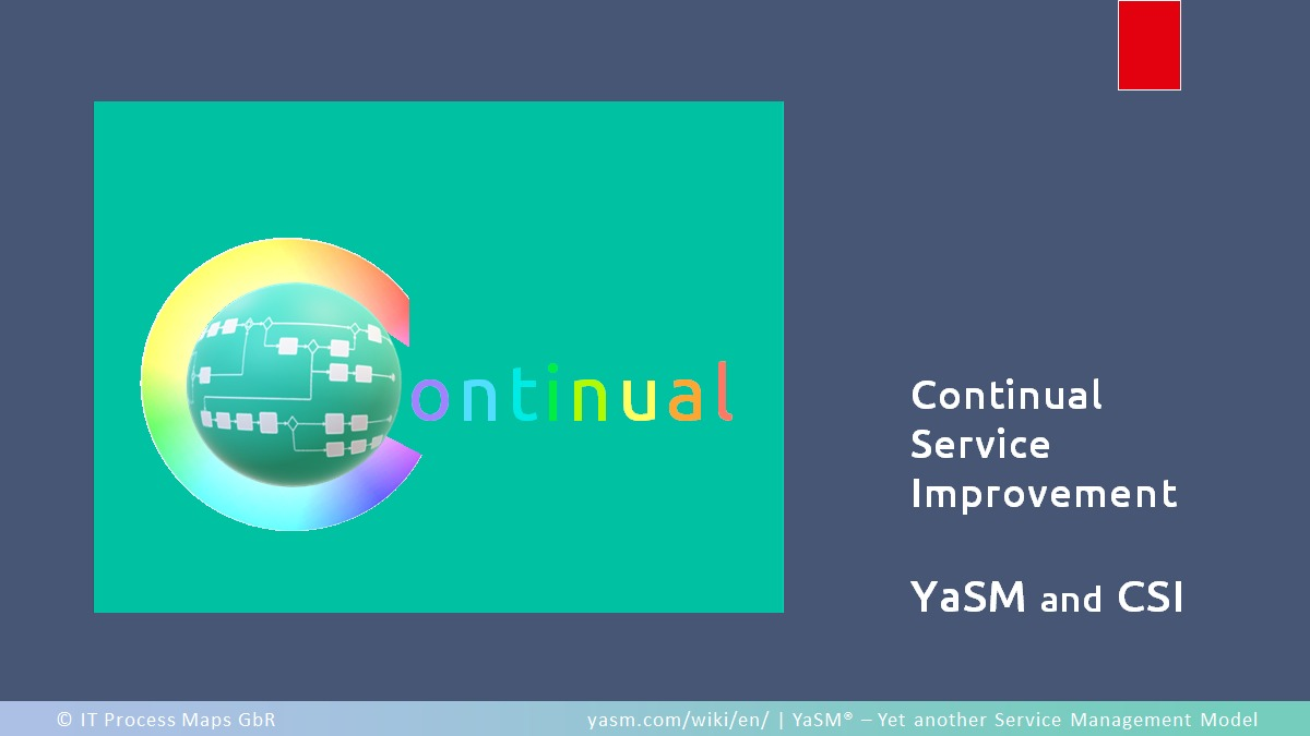 Continual service improvement - CSI in YaSM and the ITSM frameworks.
