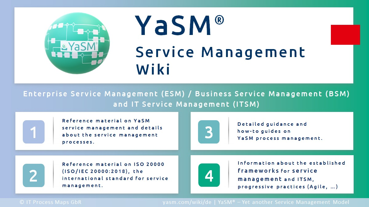 The Service Management Wiki ('YaSM Wiki'): Wiki about YaSM®, service management (ESM, BSM and ITSM), and ISO 20000 (ISO/IEC 20000).